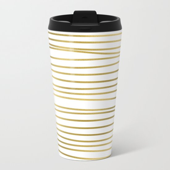 Small uneven gold glitter stripes on clear white - horizontal pattern on #Society6 Metal Travel Mug