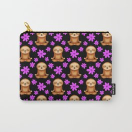 Funny cute little meditating relaxed chilling zen sloths and pretty pink spring flowers black dark pattern. Gifts for sloth and nature lovers. Nursery ideas. Carry-All Pouch
