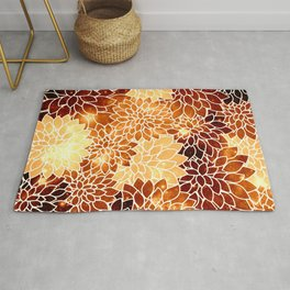 Space Dahlias Golden Bronze Rug