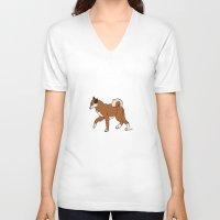 shiba inu V-neck T-shirts featuring Shiba Inu by RoseArtStudios