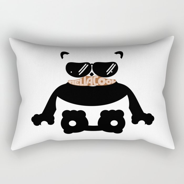 Mustache Hella Cool Panda Rectangular Pillow