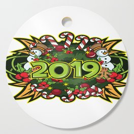 The Happy New Year 2019 New Year's Eve 2019 Gift T-Shirt Year Of The Pig Snowman Candy CaneDesign. Cutting Board