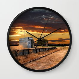 Sunset at the Coonawarra Rail Station Wall Clock