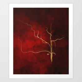 Kintsugi Red #red #gold #kintsugi #japan #marble #watercolor #abstract Art Print