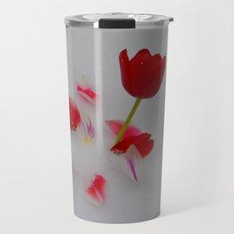 Vibrant Red Tulips In White Snow Travel Mug