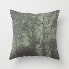 Misty Trees Throw Pillow