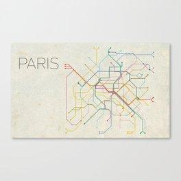 Minimal Paris Subway Map Canvas Print
