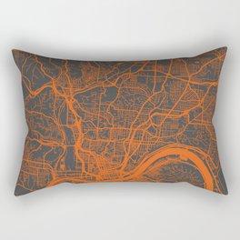 Cincinnati map orange Rectangular Pillow