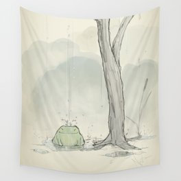 The frog under the rain Wall Tapestry