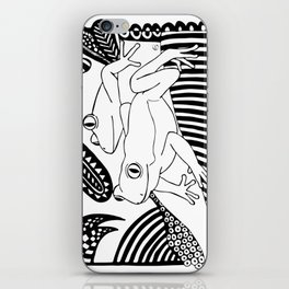 Black and white frogs outline drawing iPhone Skin