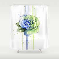 seahawks Shower Curtains featuring Seattle 12th Man Seahawks Rose Watercolor Painting Art by Olechka