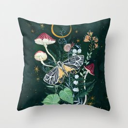 Mushroom night moth Throw Pillow