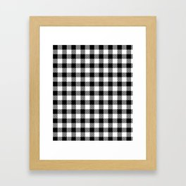 90's Buffalo Check Plaid in Black and White Framed Art Print