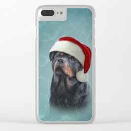 Rottweiler dog in red hat of Santa Claus Clear iPhone Case