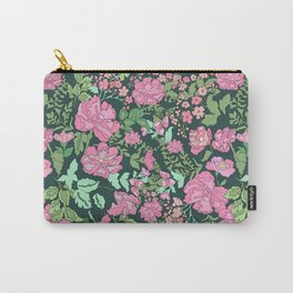 Pink repeating flower pattern Carry-All Pouch