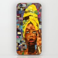 erykah badu iPhone & iPod Skins featuring Chopped and Glued - Erykah Badu by ByReenaRae