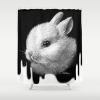 bunny Shower Curtains featuring Bunny by Creadoorm