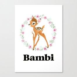 Bambi - Black Canvas Print