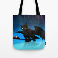 toothless Tote Bags featuring Toothless by sevillaseas