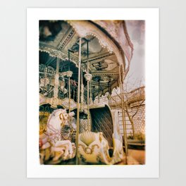 Old Carousel in Paris -  Ektachrome and bokehs Art Print