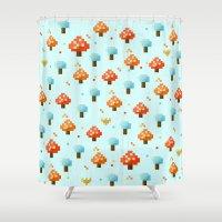 mushroom Shower Curtains featuring Mushroom by Kakel