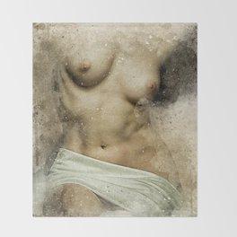 Venus. Nude woman watercolor Throw Blanket