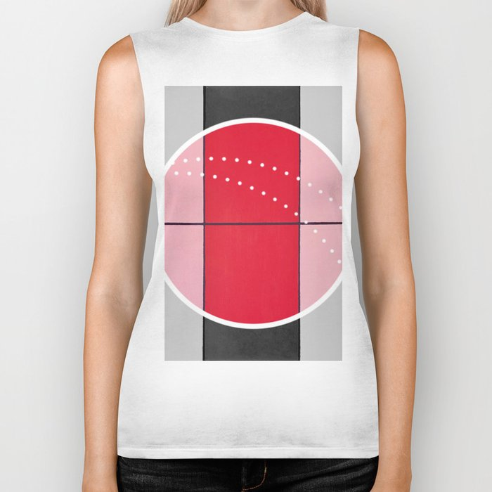 August - black and white graphic Biker Tank