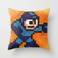 mega man Throw Pillows featuring Mega Man by Alison Hinch
