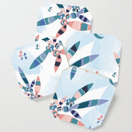 Abstract blue and pink feathers Coaster