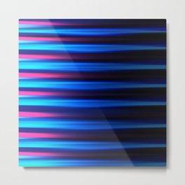 Abstract horizontal linework, neon pink and neon blue. Metal Print