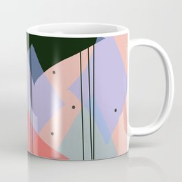 Mid Century Modern rain dance - Pink Purple Green and Black Palette Coffee Mug