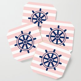 AFE Pink and Navy Helm Wheel Coaster