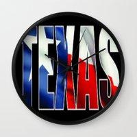 texas Wall Clocks featuring TEXAS  by Dav-idz- Art- Gallery