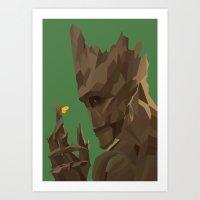 groot Art Prints featuring Groot by tophatmonster