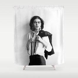 Frida Kahlo Wearing White Shirt Photo Art Poster Print Shower Curtain