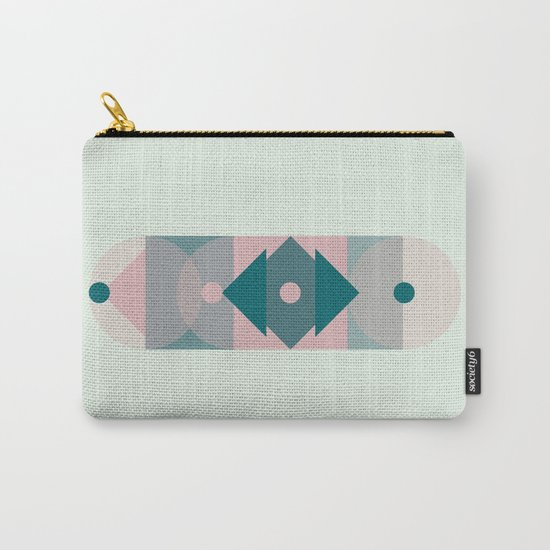 Nr. 2 Geometric Totem Pole Blush Pink and Green Carry-All Pouch