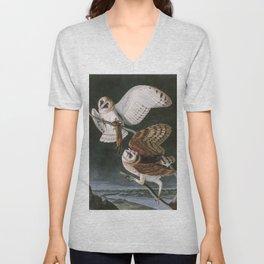 Barn Owls, the Birds of America by John James Audubon Unisex V-Neck