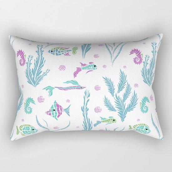 Sea , fish , seaweed , baby pattern . 2 Rectangular Pillow