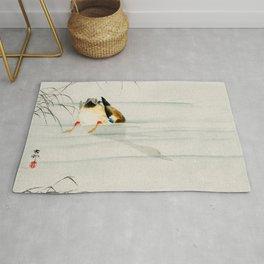 Mallard Duck Diving under water - Vintage Japanese Woodblock Print Art Rug