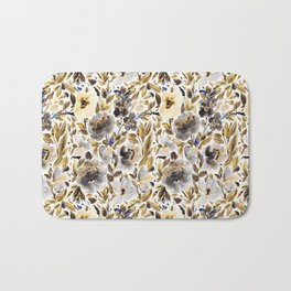 Gold and Grey Fall Feels Floral Bath Mat