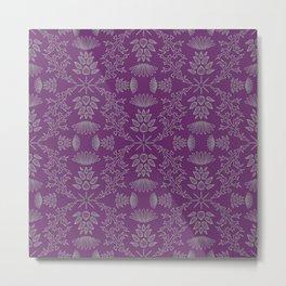 Thistle Outline on Purple Metal Print