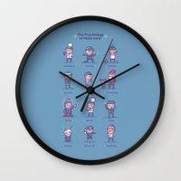 psychology Wall Clocks featuring Psychology of headwear by Randyotter