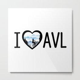 I Love Asheville - Mountain Biking - AVL 4 White Metal Print