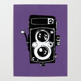 Big Vintage Camera Love - Black on Purple Background Poster