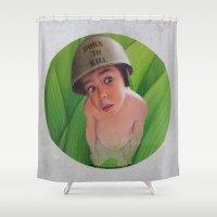 kill la kill Shower Curtains featuring Born to kill by Magdalena Almero