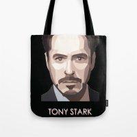 tony stark Tote Bags featuring Tony Stark by Lany Nguyen