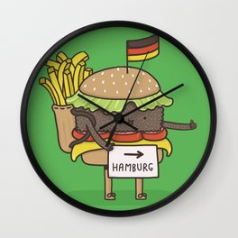 Hitchhiking for home Wall Clock