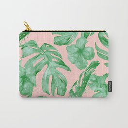 Island Life Coral Pink + Green Carry-All Pouch