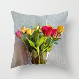 Flowers in a vase - with red and yellow roses Throw Pillow