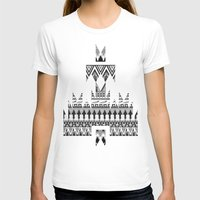 whisky T-shirts featuring WHISKY AZTEC B/W  by Kiley Victoria